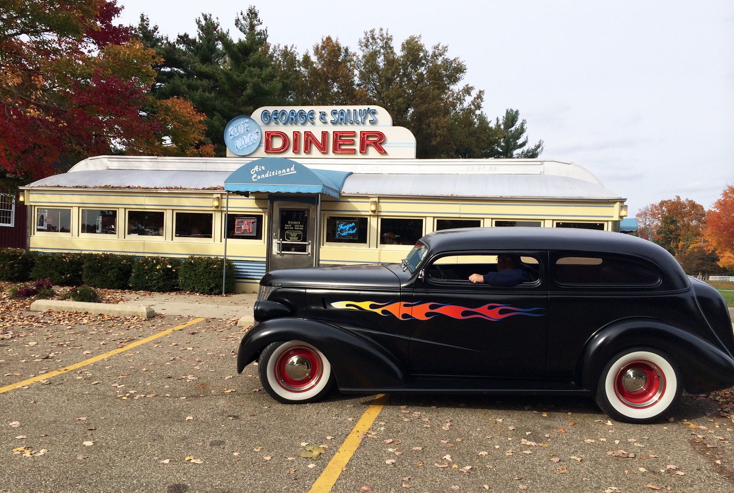 Kens 37 Chevy In Front of Diner_Gilmore Museum