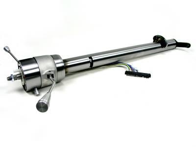 ididit  LLC - 1955-1956 Chevy Front Steer Rack Straight Column Shift Steering Column - Black Powder Coated